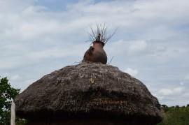 dzbanek, który scala słomę na dachu